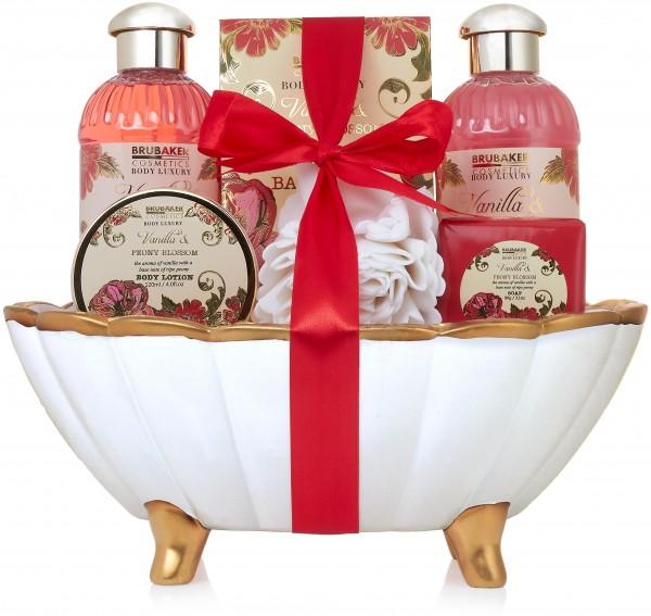 7 tlg. Bade- und Dusch Set - Beautyset - Geschenkset im Keramikwanne - Pfingstrose Vanille Duft