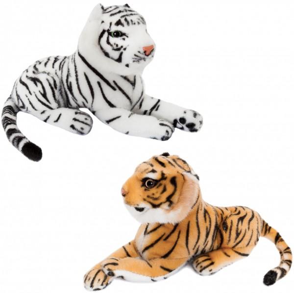 2er Set BRUBAKER Tiger weiß und braun ca. 25 cm Stofftier Plüschtier