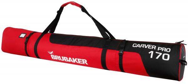 CarverPro XP Skisack mit gepolsterten Schulterträgern für 1 Paar Ski und Stöcke - Schwarz Rot