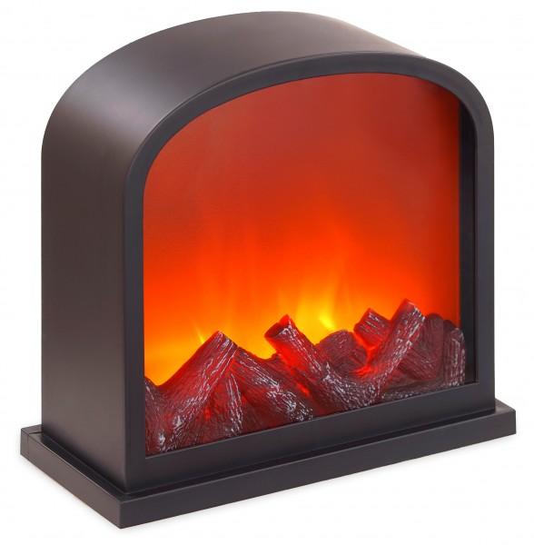 LED Kamin - mit Flammeneffekt - Wandkamin zum Hinstellen - Schwarz - 28 x 30 cm
