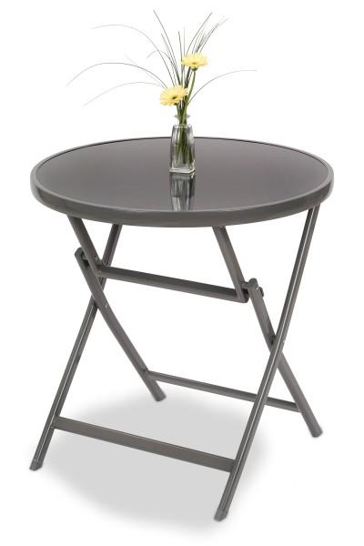 Gartentisch Milano - Runde Glastischplatte - 70 cm Ø - Klappbar - Aluminium - Wetterfest - Grau