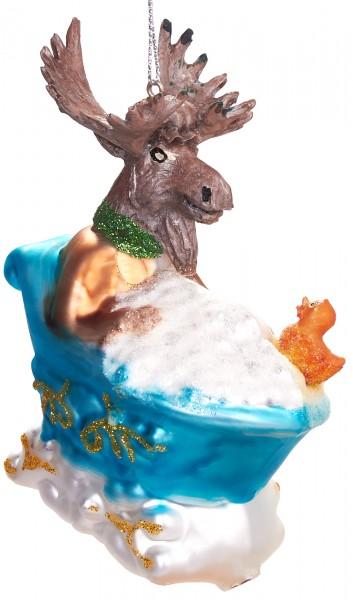 Elch in Badewanne - Handbemalte Weihnachtskugel aus Glas - Mundgeblasener Christbaumschmuck - 10 cm