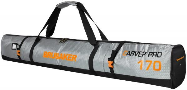 BRUBAKER CarverTec Pro Skisack für 1 Paar Ski und Stöcke - Silber Orange