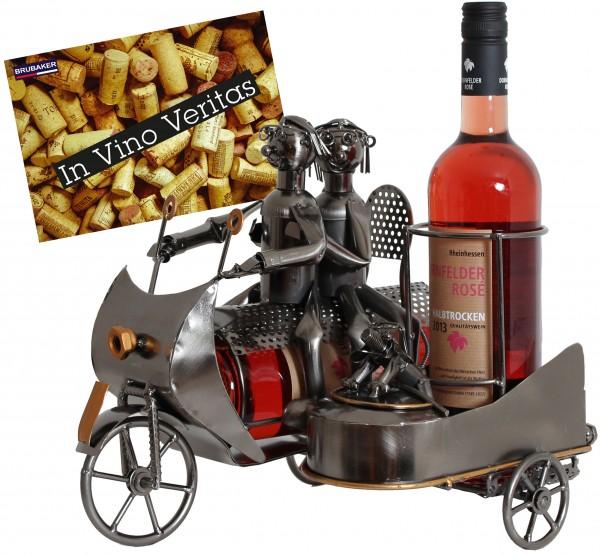 BRUBAKER Flaschenhalter Paar auf Motorrad mit Beiwagen Metall Skulptur Geschenk mit Geschenkkarte