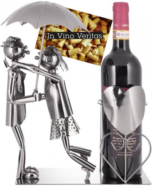 Weinflaschenhalter 'Paar mit Regenschirm' - Deko-Objekt Metall - Flaschenständer - mit Grußkarte