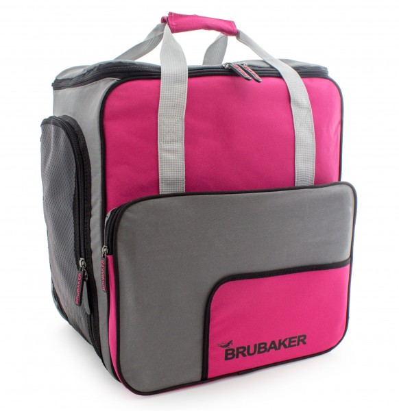 BRUBAKER Skischuhtasche Helmtasche Skischuhrucksack Superfunction Pink Grau - Limited Edition -