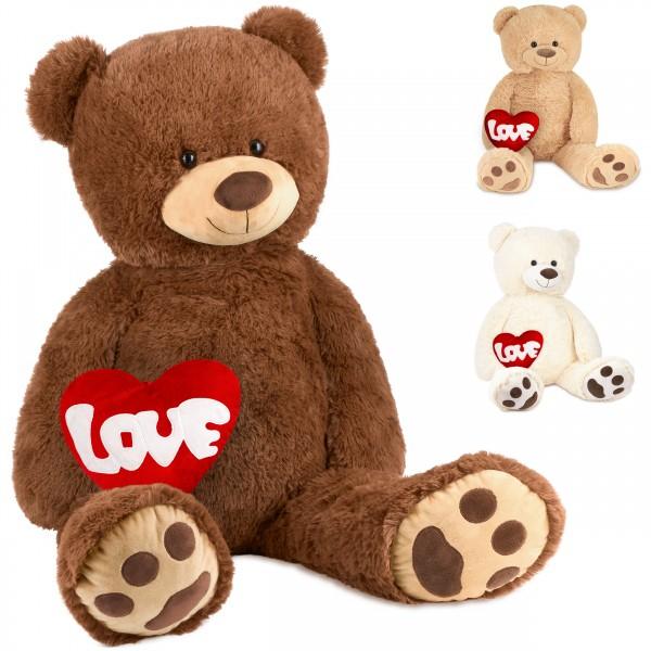 Teddybär 100 cm mit einem LOVE Herz - Stofftier Plüschtier Kuscheltier