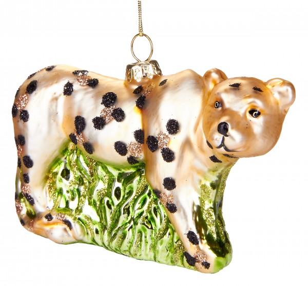 Leopard - Handbemalte Weihnachtskugel aus Glas - Mundgeblasener Christbaumschmuck - 12 cm