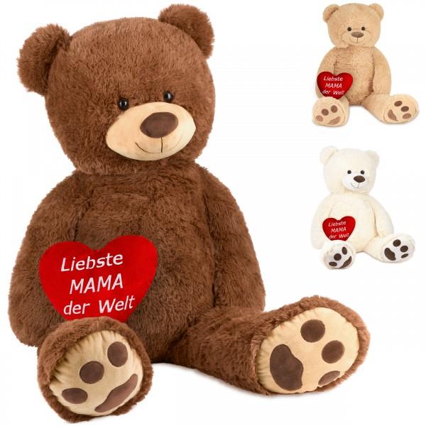Teddybär 100 cm mit einem Liebte Mama der Welt Herz - Stofftier Plüschtier Kuscheltier