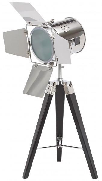 Stehlampe aus Metall - Stativbeine aus Holz - Industrial Design - 65 cm hoch - Chrom Schwarz