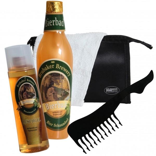 BRUBAKER Bier Badeset Geschenkset für Männer mit Kulturbeutel, Handtuch und sexy Damenbein-Kamm