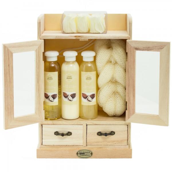 BRUBAKER Cosmetics Bade- und Pflegeset im Holzschrank - 10-teilig