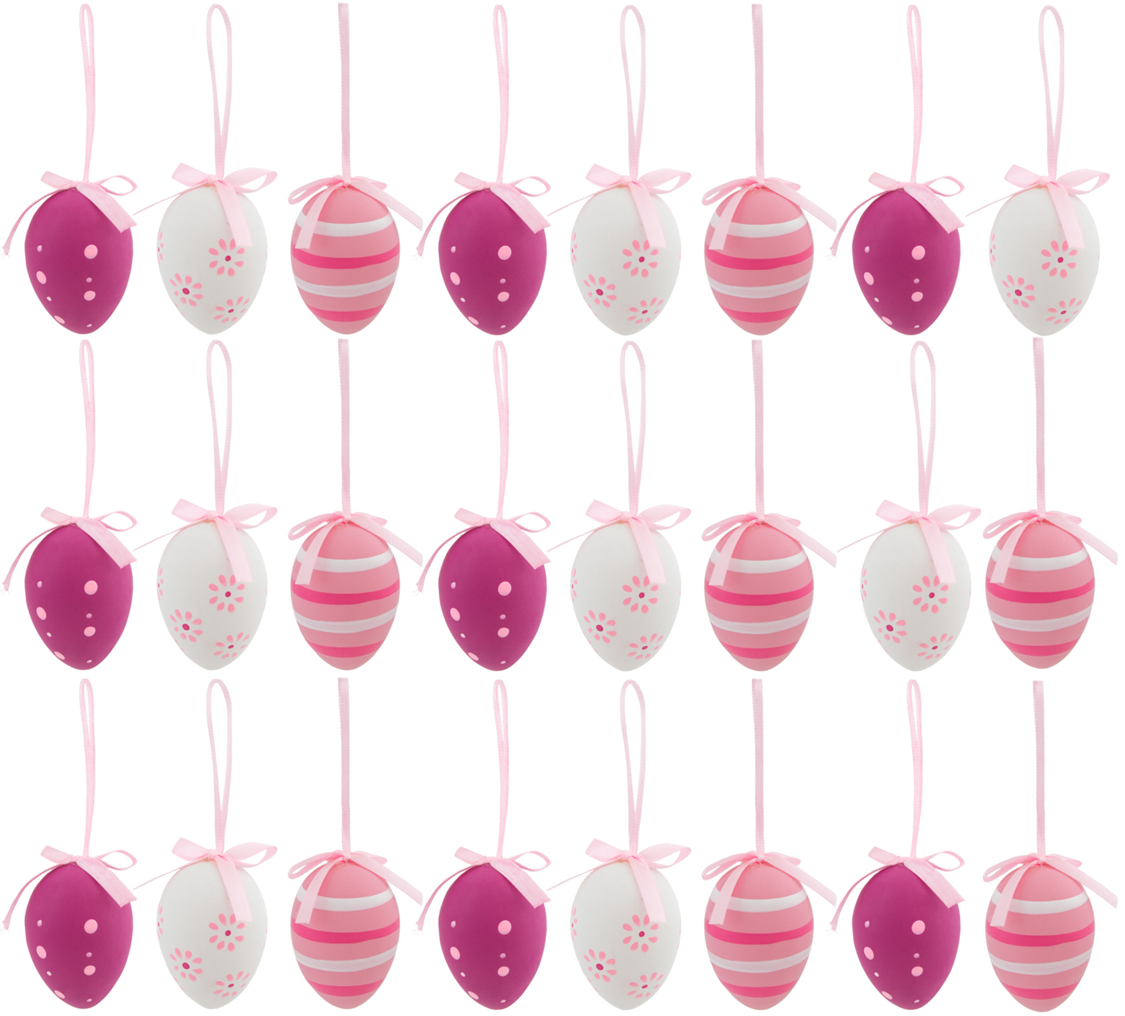 brubaker ostereier dekoration zum aufh ngen im 24er set rosa weiss sonstige dekoration. Black Bedroom Furniture Sets. Home Design Ideas