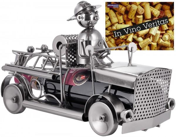 Weinflaschenhalter Feuerwehr - Feuerwehrauto Metall Flaschenständer - Wein Geschenk mit Grußkarte