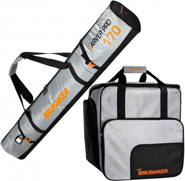 Kombi Set CarverTec Pro - Skisack & Skischuhtasche für 1 Paar Ski + Stöcke + Schuhe + Helm
