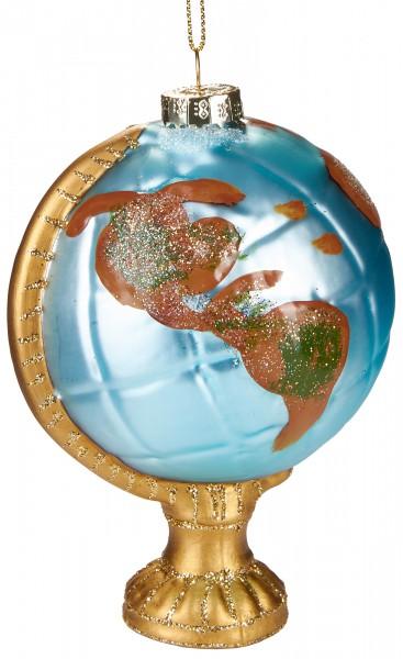 Globus - Handbemalte Weihnachtskugel aus Glas - Mundgeblasener Christbaumschmuck - 11 cm