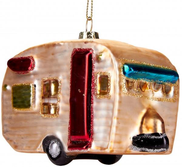 Wohnwagen - Handbemalte Weihnachtskugel aus Glas - Mundgeblasene Baumkugel - 11 cm