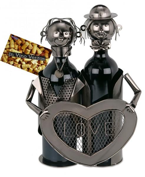 BRUBAKER Flaschenhalter Liebespaar Metall Skulptur Geschenk mit Geschenkkarte