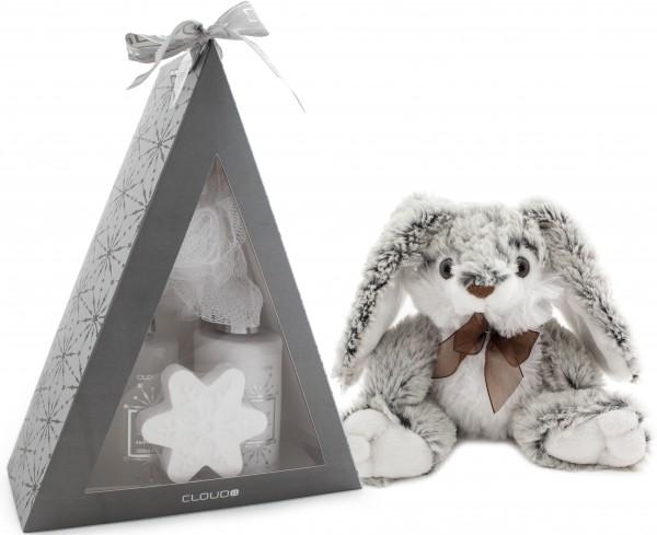 5-teiliges BRUBAKER Cosmetics Bade-Geschenkset 'Pyramide' silber mit flauschigem Plüschhasen