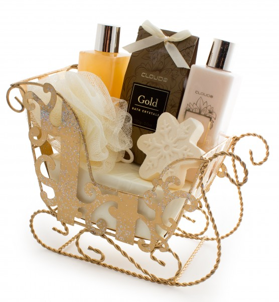 BRUBAKER 'Vanilla Christmas' Bade-Geschenkset mit Schlitten goldfarben 6-teilig