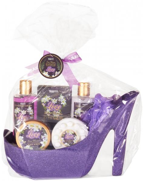 7 tlg. Lila Blütenzauber Beautyset Geschenkset in Stiletto - Lila