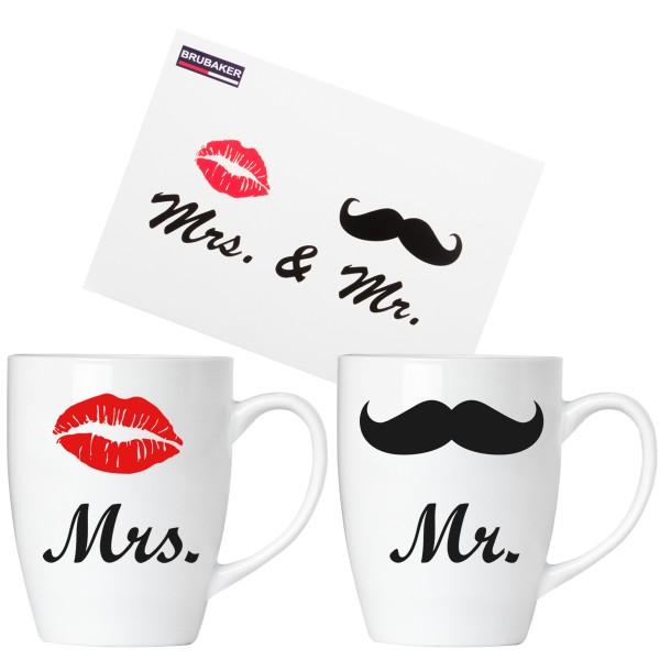 """BRUBAKER """"Mr. & Mrs."""" Tassen aus Keramik - Grußkarte und Geschenkpackung"""