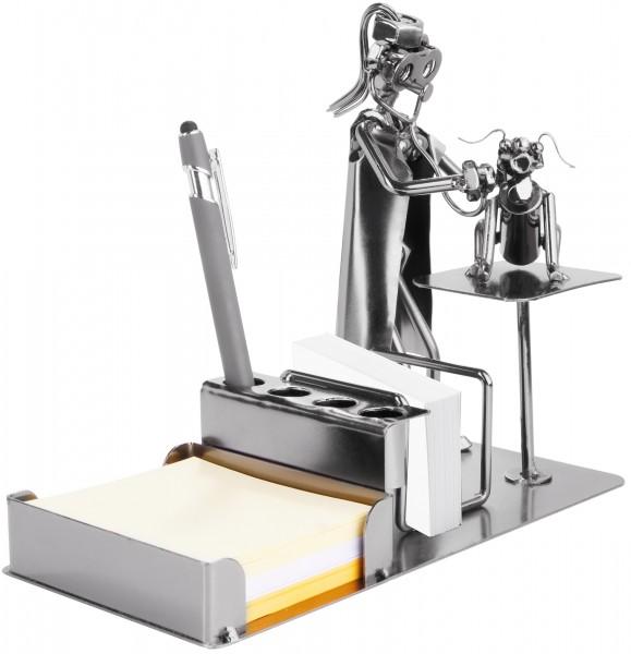 Schraubenmännchen Tierärztin mit Stiftehalter - Metallfigur Visitenkartenhalter und Notizzettelfach