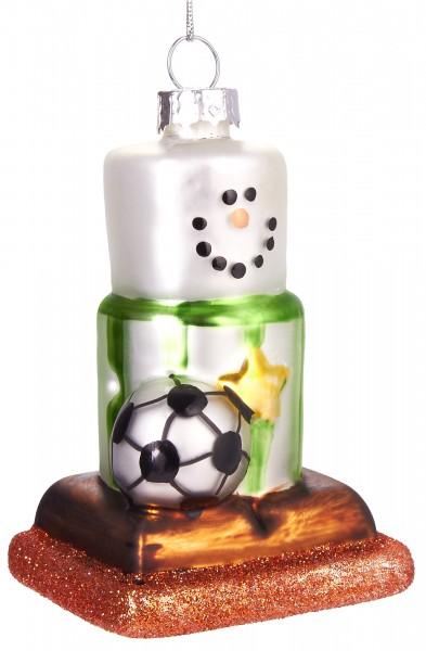 Schneemann mit Fußball - Handbemalte Weihnachtskugel aus Glas – Mundgeblasene Baumkugel - 9 cm