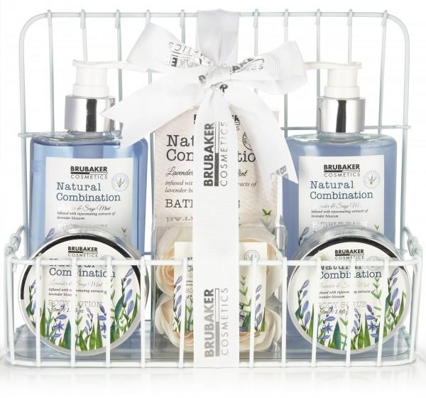 7-tlg. Beauty Pflege Set mit Lavendel & Salbei Minze Extrakten - Geschenkset im Korb