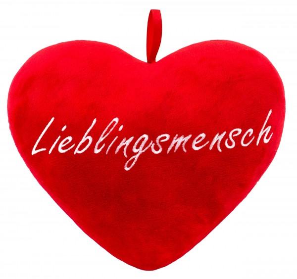 Brubaker Plüschkissen in Herzform - Lieblingsmensch - Rot 32 cm Herzkissen Bestickt