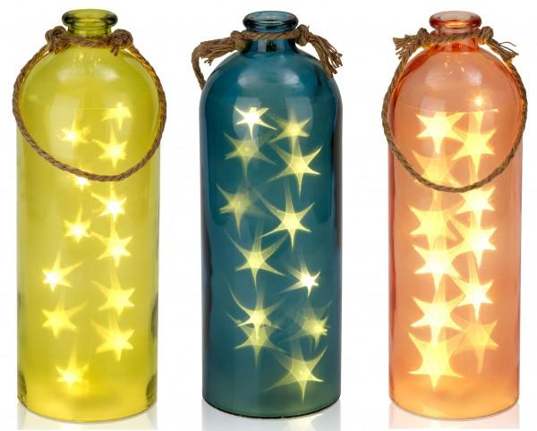 Lichterflasche mit 12 LEDs - Dekoflaschen - Flaschenlicht - 13,5 x 40,8 cm
