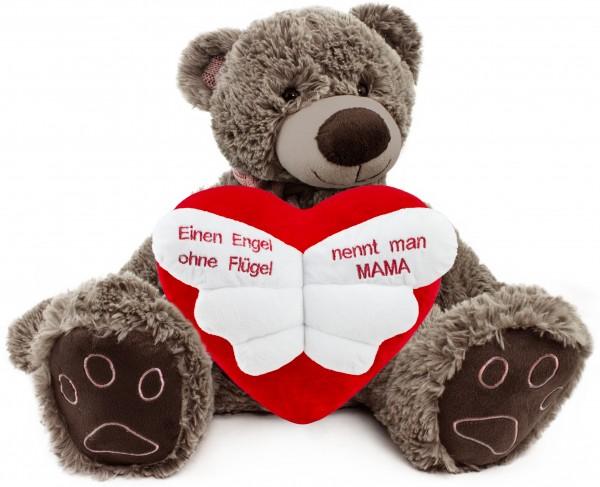 BRUBAKER Kuschelbär Teddybär 50 cm groß in Braun mit 'Einen Engel ohne Flügel nennt man Mama' Herz