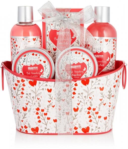 6-tlg. Bade- und Dusch Set Erdbeere Sweet Love im Deko Metallkorb mit Blumen Design