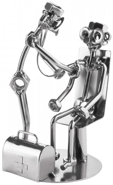Schraubenmännchen Arzt mit Patient Stethoskop - Metallfigur Handarbeit