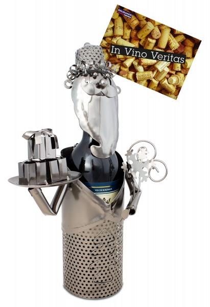 BRUBAKER Flaschenhalter Weihnachtsmann - Flaschenständer für Wein aus Metal mit mit Grußkarte