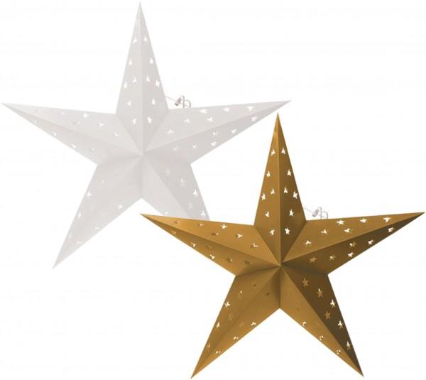 BRUBAKER Falt Weihnachtssterne LED, Fotokarton mit Stern Ausschnitten, 60 cm Ø, Weiß und Gold, Doppe