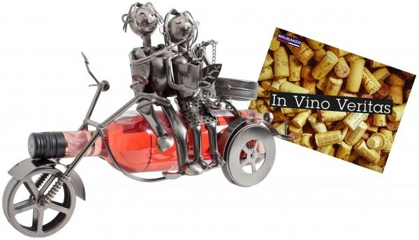 BRUBAKER Flaschenhalter Paar auf einem Motorrad Metall Skulptur Geschenk mit Geschenkkarte