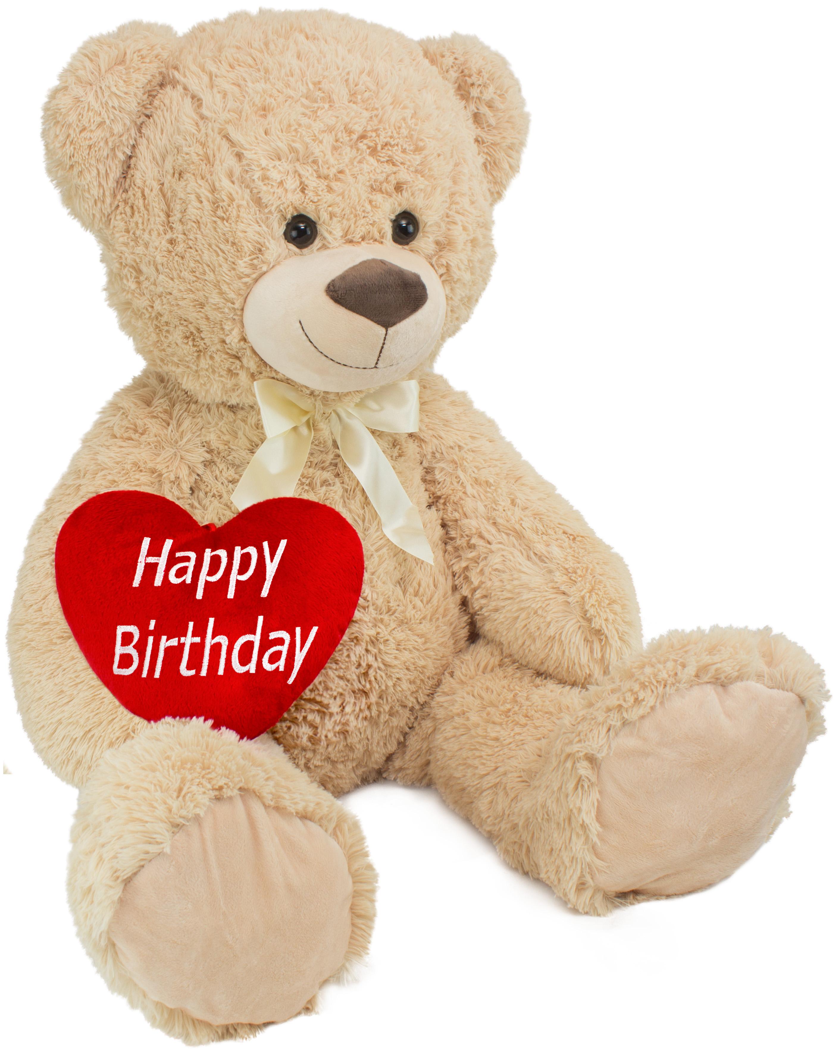 brubaker xxl teddyb r 100 cm gro beige mit einem happy birthday herz stofftier pl schtier. Black Bedroom Furniture Sets. Home Design Ideas