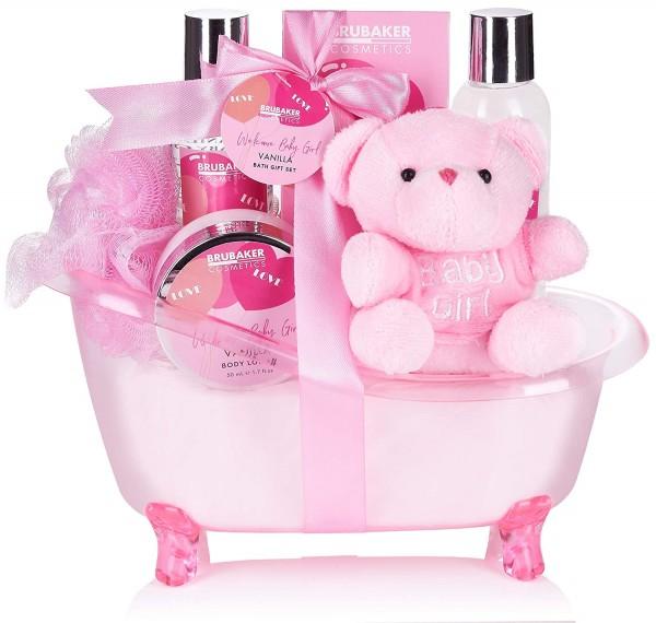 BRUBAKER 7-teiliges Babypflege Set - Willkommens Set für Babys - Geschenkset mit Wanne und Plüschbär