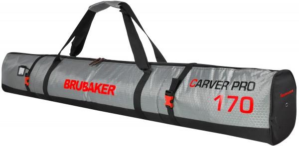 BRUBAKER CarverTec Pro Skisack für 1 Paar Ski und Stöcke - Silber Rot