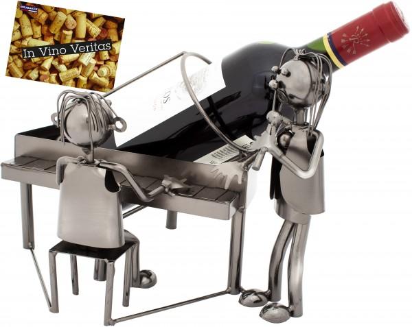 BRUBAKER Flaschenhalter Duo mit Sänger am Klavier - Flaschenständer aus Metall mit Grußkarte