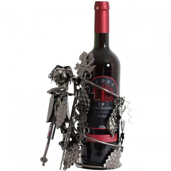 BRUBAKER Flaschenhalter Winzer Metall Skulptur Geschenk