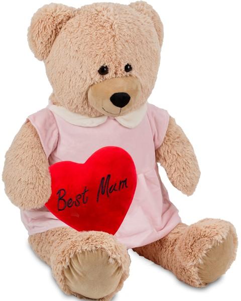 Bärenmädchen mit rosa Kleid - 100 cm - Beige - mit einem 'Best Mum' Plüschherz - Stofftier