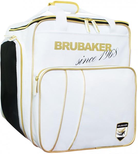 BRUBAKER Grenoble Skischuhtasche Helmtasche Rucksack-Tragesystem mit Schuhfach - Weiß Gold