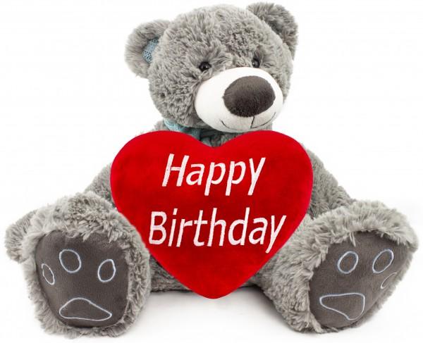 BRUBAKER Kuschelbär Teddybär 50 cm groß Grau mit einem Happy Birthday Herz
