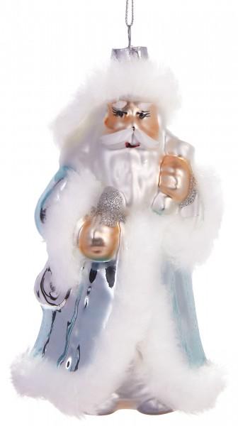 Weihnachtsmann Weiß - Handbemalte Weihnachtskugel aus Glas -Mundgeblasene Baumkugel - 15 cm