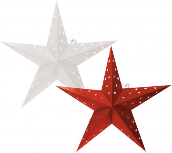 BRUBAKER Falt Weihnachtssterne LED, Fotokarton mit Stern Ausschnitten, 60 cm Ø, Weiß und Rot, Doppel