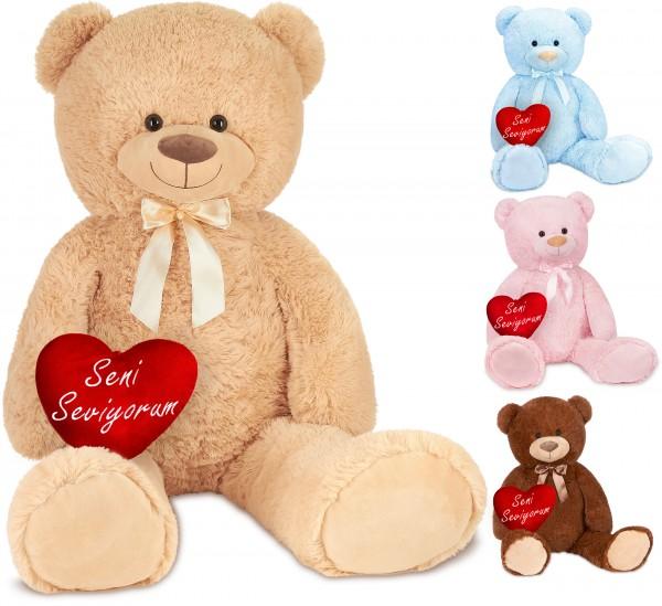 Teddybär mit Schleife 100 cm mit einem Seni Seviyorum Herz - Stofftier Plüschtier Kuscheltier