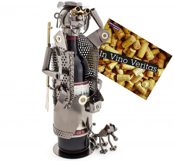 BRUBAKER Flaschenhalter Jäger Metall Skulptur mit Geschenkkarte