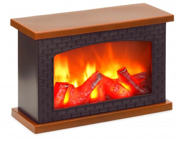LED Kamin - mit Flammeneffekt - Wandkamin zum Hinstellen - Schwarz Braun - 20 x 30 cm